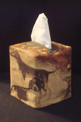 Two Hunting Dogs Tissue Box Cover Cabin Bath Truck Office Gift Bed Desk