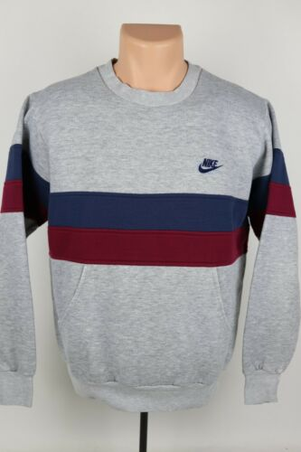 Vintage Nike Adult M Embroidered Logo Striped Crewneck Sweatshirt Pouch Pocket