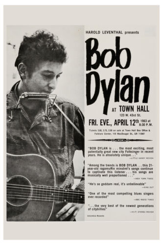 Folk:  Bob Dylan  at Town Hall New York City Concert Poster 1963  12x18