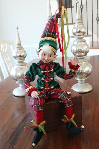 "Elf Raz Imports Elf Christmas Poseable 20"" Red Green Plaid Gold Elf B New"