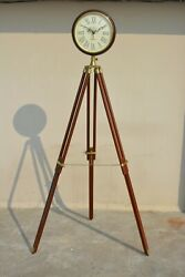 Nautical India Wooden Wall Clock with Tripod Stand - Home Decor Vintage Clock