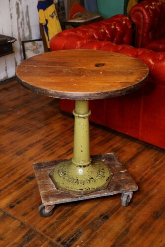 Vintage Toledo Uhl Cast Iron Base Industrial Dining Cafe Table Pedestal green