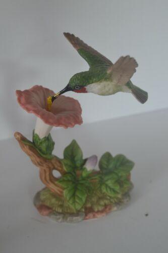 Vintage Porcelain Bird Hummingbird  Figure Morning Glory Flowers Home Interiors