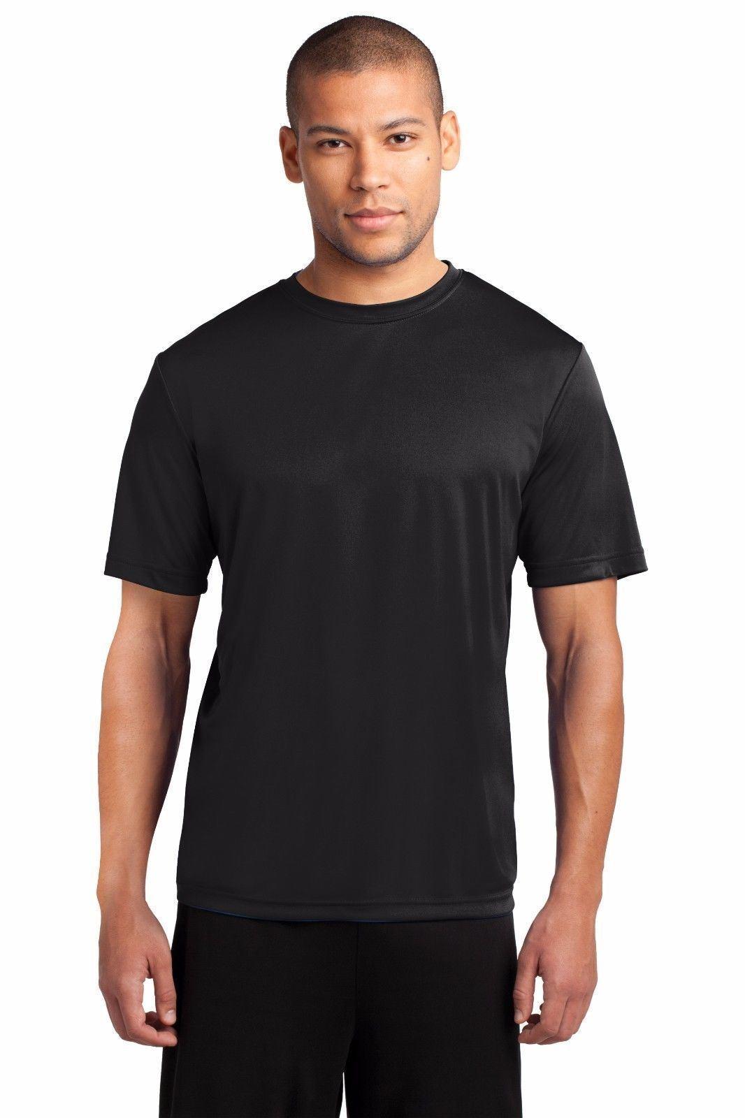Mens Dri-Fit Workout Performance Moisture Wicking Gym Sport T-Shirt Dry T PC380 Black
