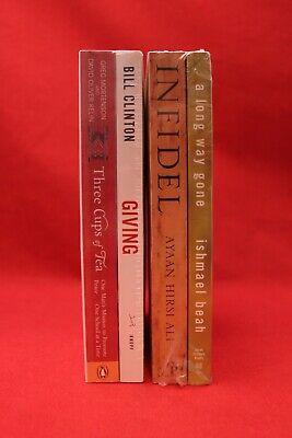 A long Way Gone, Infidel, Giving, & 3 Cups of Tea Hirsi Ali Clinton 4 Book Lot