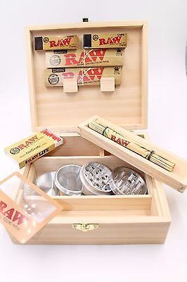 RAW ROLLING SUPREME LARGE STASH BOX BUNDLE Papers/Tips/Roller/Metal Grinder PLUS