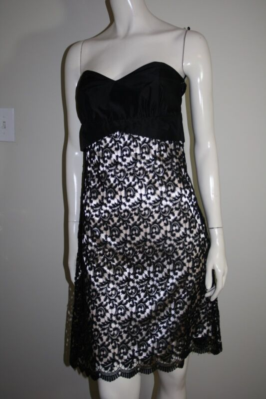 white house black market black lace overlay dress
