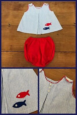 Jumper Bloomers (1960s Sun Suit Jumper Bloomers Inverted Front A Line Fish Red Blue 12 - 18 Month)
