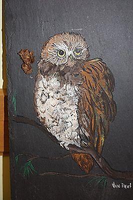 Owl Vtg Signed Van Fleet Painting Hand Painted Art Slate Stone Slab Shingle