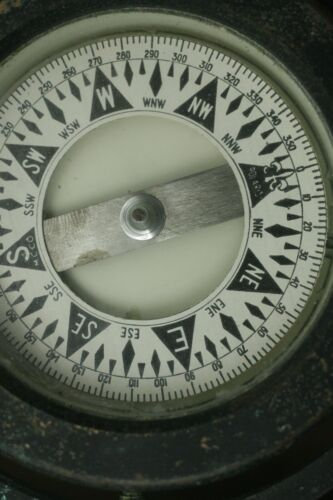Antique Nautical Polaris Ship Floating  Compass In Wooden Box