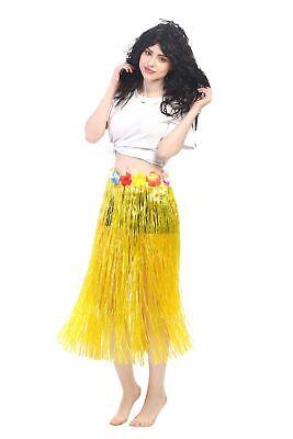 Karneval Hawaii Rock Bastrock Südsee Pazifik Hula Skirt Gelb Lang 75 - 80 cm (Langer Hula Rock)