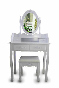 Shabby Chic Dressing Table Vanity Makeup Table Storage with Mirror and Stool Set