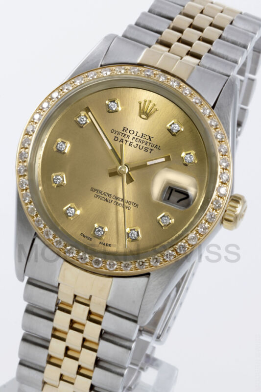 Rolex Mens Datejust 18k Gold & Steel Champagne Diamond Dial & Bezel Jubilee