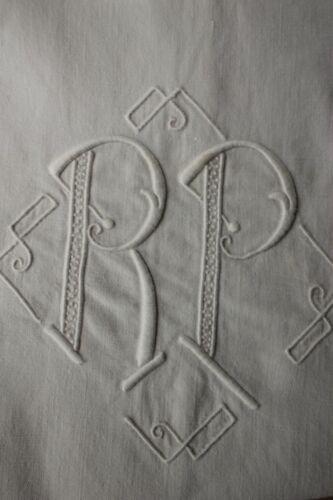 Vintage French linen sheet trousseau RP monogram 87X120 inches LONG soft cotton
