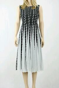 ASOS Spot Mesh Insert Fit And Flare black and white Midi Dress Size UK 10