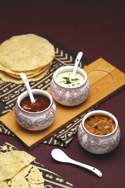 Kitchen Craft Indian Chutney Bowl & Spoon Set Relish, Dips, Sauce Serving Dishes