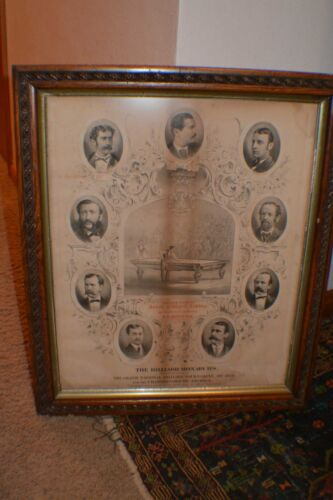 Antique Pool/Brunswick W H Griffith Original Billiard Monarchs 1874 Litho Poster