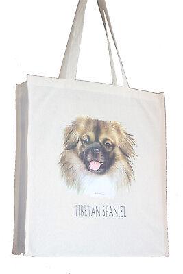 Tibetan Spaniel Dog H Cotton Shopping Tote Bag Long Handles Perfect Gift