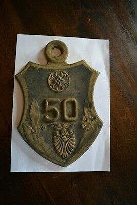 VINTAGE cast iron METAL HOUSE COTTAGE  NUMBER 50  SIGN PLAQUE- BIRTHDAY royal