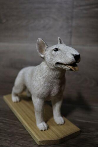 Figurine. Dog.   Bull Terrier. Handmade. Wood carving.