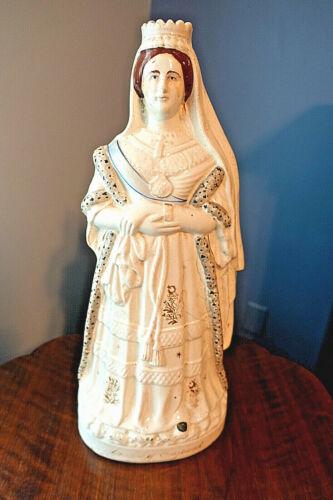 "Lg. c.1880 17"" STAFFORDSHIRE PORCELAIN QUEEN VICTORIA FIGURE, ""Queen of England"""