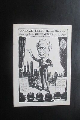1963 THE SAVAGE CLUB MENU CARD HARRY RILEY CARTOON CARICATURE HUGH MILLER