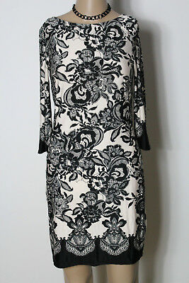 atmosphere Kleid Gr. 36 schwarz-nude mini/kurz Blumen Ornament Slinky Kleid