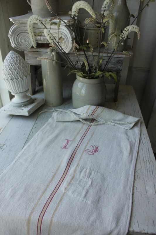 GRAINSACK hemp grain sack hemp linen grain sack red stripe stripes IJ