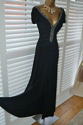 ~ JS BOUTIQUE ~ Designer Long Black Beaded Dress Size 14 12 Wedding Cruise Races