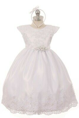 (White Flower Girls Baptism Dress Christening Satin Tulle Wedding Party Easter)