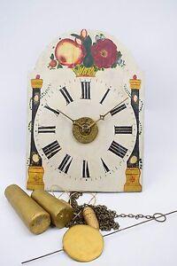 Schottenuhr Schilderuhr wanduhr holzgespindelt mit Wecker um 1840 bezeichnet