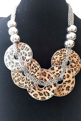 Trendy Silver Plated Round Animal Print Pendant Chunky  Necklace](Animal Print Plates)