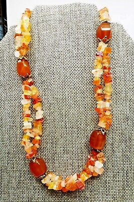 - A30) Citrine Gemstone Double Strand Necklace