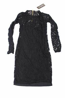 Mesh Emma Dress - Boohoo Women's Long Sleeve Emma Flock & Mesh Bodycon Dress AB4 Black Small NWT