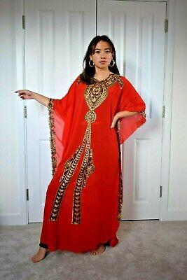 kaftan lace maxi dress red gold abaya bohemian boho meternity  S to XXXL