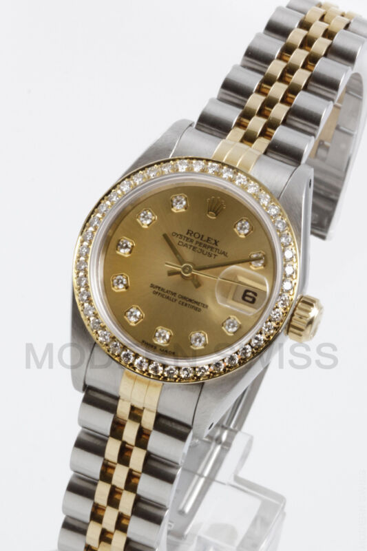 Rolex Ladies Datejust Gold & Steel Champagne Diamond Dial & Bezel Jubilee 6917