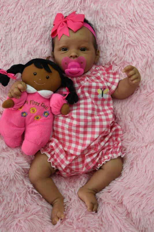 OOAK Biracial Reborn Baby Girl Doll Full Torso Vinyl