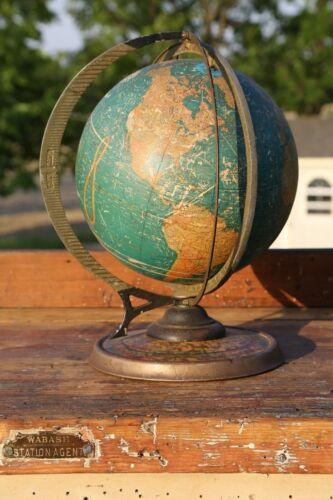 "Vintage Cram's Deluxe World Globe 12"" Terrestrial antique globe metal stand"