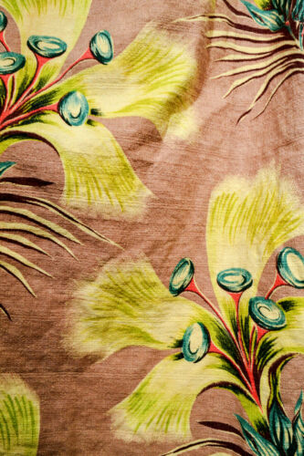 MID CENTURY WILD SURREALIST TROPICAL FLOWERS BARKCLOTH CURTAINS, TWO PAIRS
