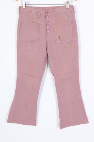 Vintage 70s Lavender Dungaree Bell Bottom Flare Pants USA Size 30x28