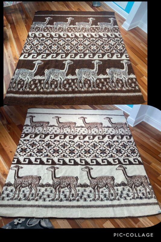 Vintage HUANCATEX ALPACA WOOL Blanket Brown LLAMA Reversible Aztec Peru 75X85