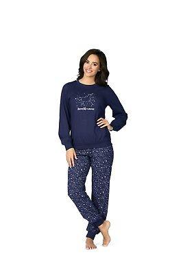 Navy Baumwolle Pyjama (Comtessa Single Jersey Damen Schlafanzug Pyjama 100% Baumwolle 182355 navy)