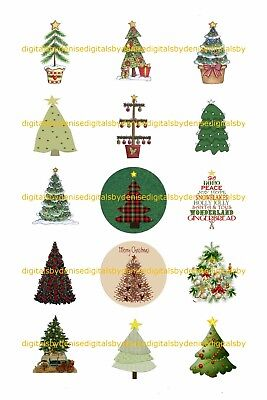 Christmas Trees 1  Circles Bottle Cap Images   2 45  5 50    Free Shipping