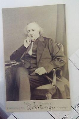 Thomas Binney 1870 (Circa) CDV Signed Photo