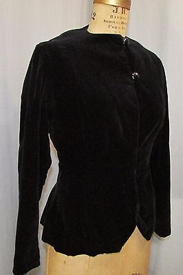 1930S JACKET BLACK VELVET TAILORED COAT VINTAGE CLOTHING GATSBY FASHION SM 4-6  for sale  Lancaster