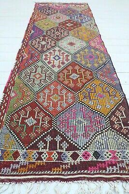 Traditional Runner Vintage Turkish Kilim Runner Rustic Handwoven Wool Kilim Runner Tribal Ethnic Runner
