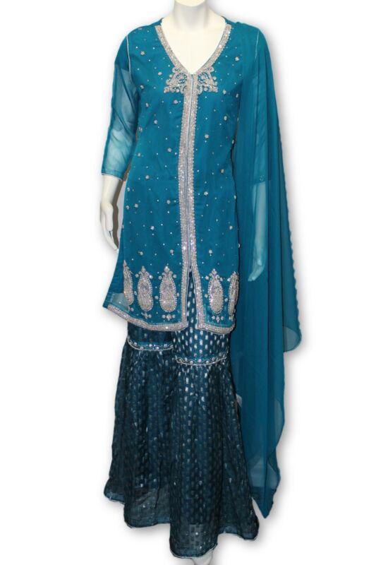 E16 Pakistani Indian 3 Pc Party Wear  Chiffon Dress