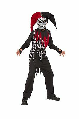 Skeleton Jester Costume (Evil Jester Clown Skeleton Child Boys Costume NEW Red)