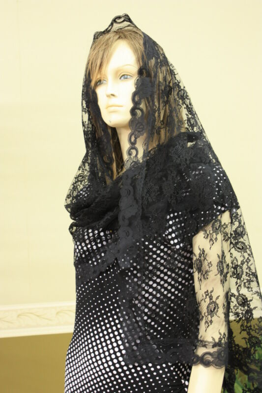 Black rectangle lace veils And mantilla Catholic scarf latin headcovering RBNL