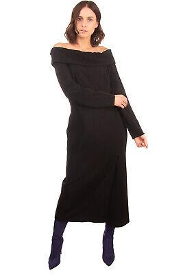 RRP €1825 LANVIN Crepe Midi Sheath Dress Size 42 / XL Black Made in France